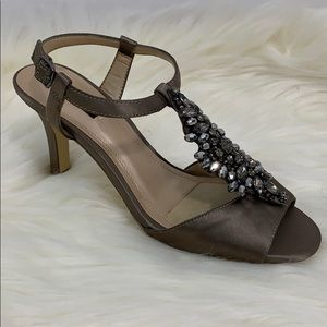 "Alex Marie olive bronze beaded strappy 3"" heels"